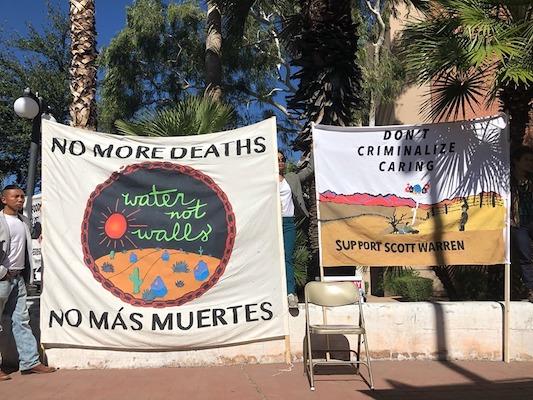 Protest outside Scott Warren's trial. Photo- Facebook