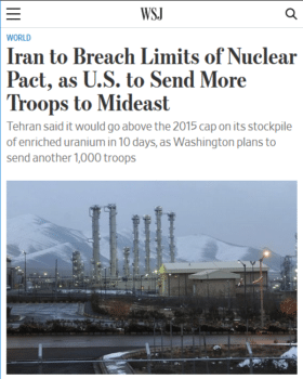 "The Wall Street Journal (6/17/19) reports Iran will ""breach"" a pact that the US scuttled more than a year ago."