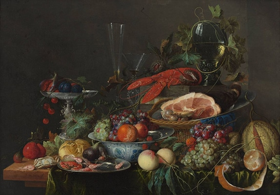 Jan Davidsz de Heem, Still Life with Ham, Lobster and Fruit, c. 1653. Photo via Wikimedia Commons.
