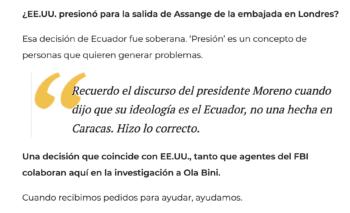 Former U.S. Ambassador to Ecuador Todd C. Chapman to Xavier Reyes, El Universo, 9 June 2019.