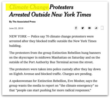 "Demonstrator Donna Nicolino told the Guardian she was willing to risk arrest because ""we want the New York Times as well as all the other media to treat climate change as the crisis it is."""