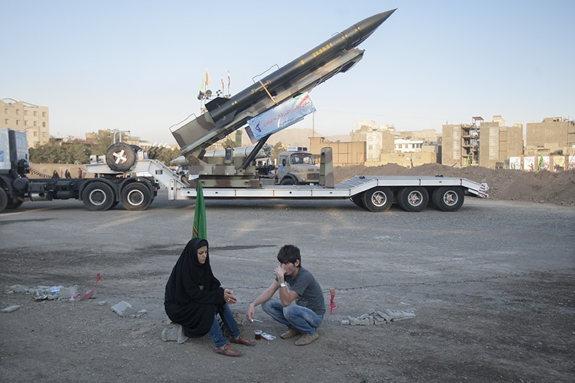 | An Iranian couple rest as they sit in front of the Iranian surfacetosurface Zelzal missile while visiting an exhibition to mark the anniversary of the IranIraq war 198088 at a Revolutionary Guard Corps military base in northeastern Tehran September 26 2011 © Morteza Nikoubazl Exhibition to mark the anniversary of the IranIraq war 198088 | MR Online