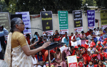 K Hemalata, President of the Centre of Indian Trade Unions (CITU), addressing the March to Parliament by Child Care Workers organised by the All India Federation of Anganwadi Workers and Helpers (AIFAWH). New Delhi, February 2019. Photo credits: CITU Archives