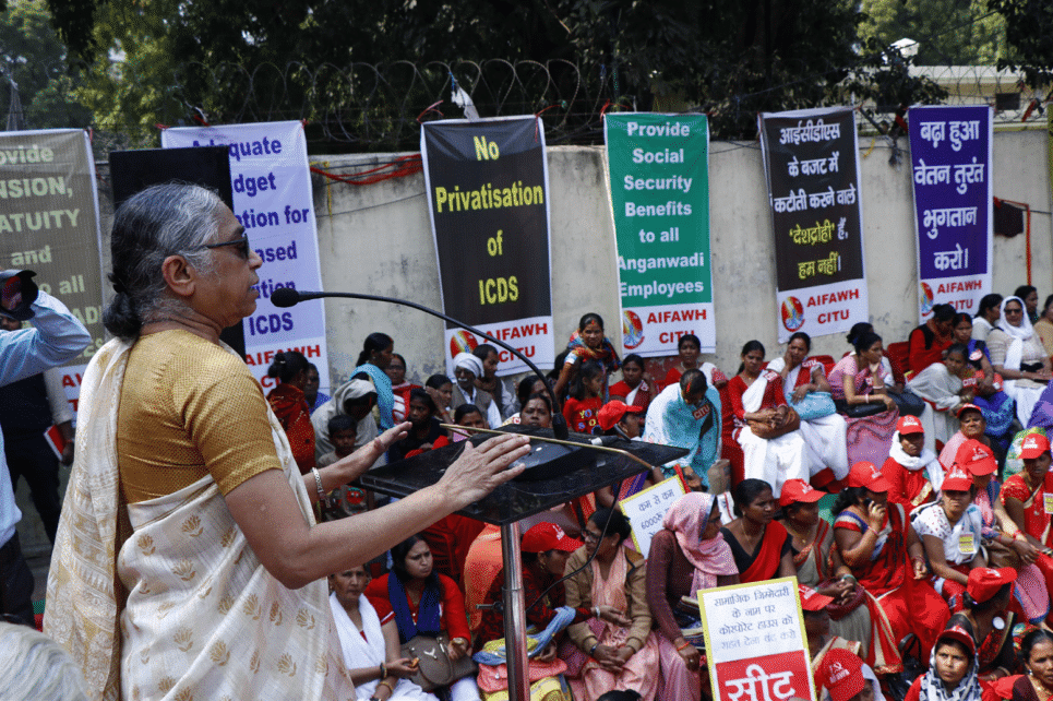| K Hemalata President of the Centre of Indian Trade Unions CITU addressing the March to Parliament by Child Care Workers organised by the All India Federation of Anganwadi Workers and Helpers AIFAWH New Delhi February 2019 Photo credits CITU Archives | MR Online