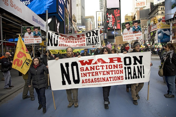 Feb. 4, 2012: International Day of Action: NO U.S. War on Iran. Actrivists rally in Times Square, NYC and march to UN and Israeli Embassy to protest war mongering against Iran, sanctions and drone strikes.