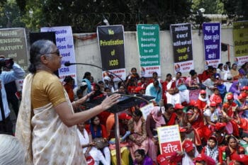 K Hemalata, President of the Centre of Indian Trade Unions (CITU), addressing the March to Parliament by Child Care Workers organised by the All India Federation of Anganwadi Workers and Helpers (AIFAWH). New Delhi, February 2019.