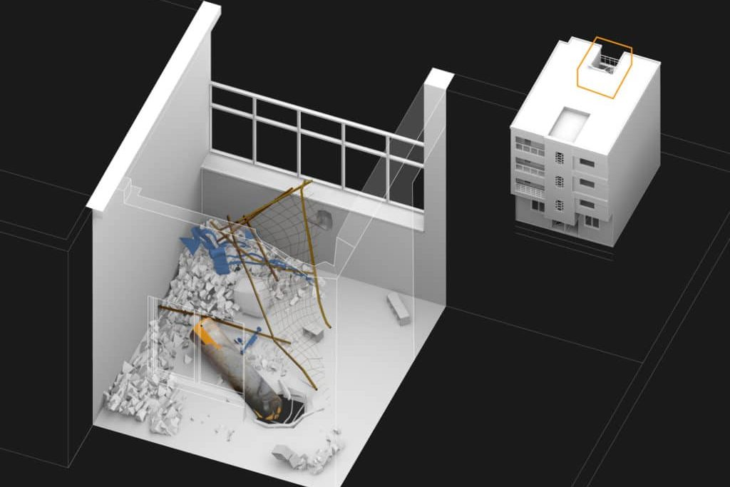 | Douma balcony canister in Forensic Architectures augmented reality | MR Online