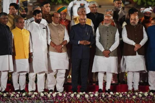 Prime Minister Narendra Modi, who won a landslide victory in the 2019 general election, after the swearing-in ceremony on May 30. With him are President Ram ...
