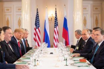 Trump and Putin at a working lunch, July 16, 2018 (White House: Shealah Craighead)