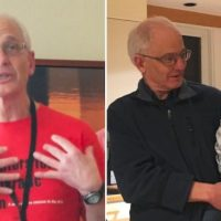 Two aspects of Dan Clawson- As an organizer and teacher, and as the grandparent of Danny. Left photo- Paul Mange Johansen; right- Laura Clawson