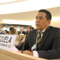 William Castillo, the vice-minister of international communication, participated in the session of the human rights commission in order to defend the truth about Venezuela. Photo: Foreign Ministry of Venezuela twitter