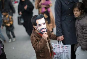 During a rally to mark the 35th anniversary of Iran's Islamic Revolution
