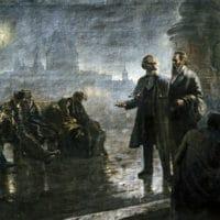 'Before the sunrise' (Karl Marx and Friedrich Engels walking in night London) by Mikhail Dzhanashvili