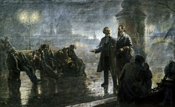 'Before the sunrise' (Karl Marx and Friedrich Engels walking in night London) by Mikhail Dzhanashvili