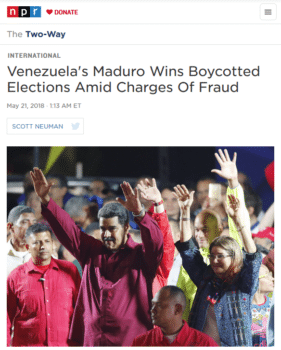 "NPR's headlined claim of ""fraud"" (5/21/18) rests heavily on the unsubstantiated assertions of ""many independent observers."" The 6 million votes received by President Nicolás Maduro are in line with the support found for the government in independent polling."
