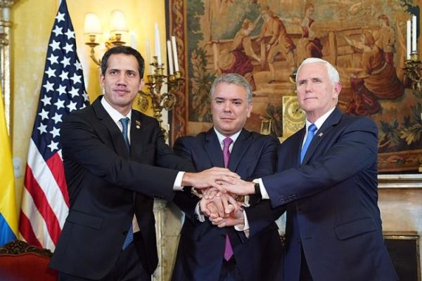 Vice President Mike Pence, interim president Juan Guaidó, and President Iván Duque (Photo by D. Myles Cullen:Wikimedia)