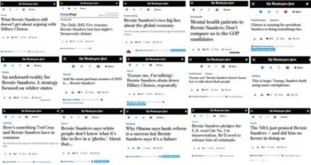 Fifteen of the 16 negative stories on the Bernie Sanders campaign that the Washington Post ran over a 16-hour period (FAIR.org, 3/8/16).