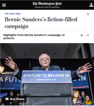 "The Washington Post (1/27/16) began its rebuttal to Bernie Sanders' ""fiction-filled"" campaign: ""Here is a reality check: Wall Street has already undergone a round of reform."""