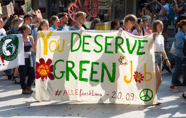 Supporters of the Fridays for Future climate change movement participate in a demonstration during a five-day Fridays for Future congress on August 2, 2019 in Dortmund, Germany. (Juergen Schwarz / Getty Images)
