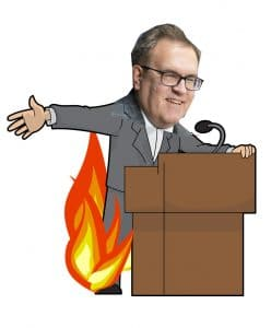 Artist's rendering of Administrator Andrew Wheeler at today's press conference. (No one was harmed, although some pants may have caught aflame.)