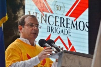 Fernando González Llort, President of the Cuban Institute of Friendship with the Peoples (ICAP), speaks at the 50th Anniversary of the creation of the Venceremos Brigade