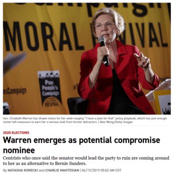Politico reporting on Warren
