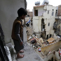A neighborhood in Sana, Yemen, a day after it was hit by a Saudi-led airstrike