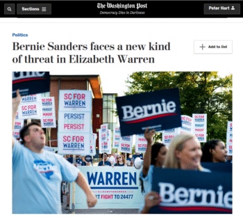 WaPo on Sanders/Warren