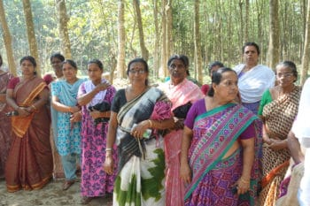 Women farmers of a Kudumbashree group farming unit in Pattanamthitta, Kerala