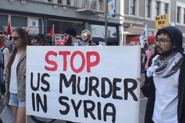 """Stop U.S. murder in Syria"""