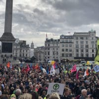 Extinction Rebellion protesters gather in Trafalgar Square despite a police order banning their assembly (Photo- Natalie Sauer)