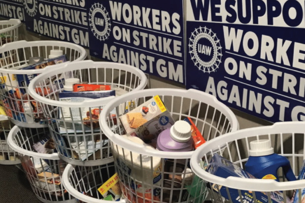 Donation baskets for GM strikers