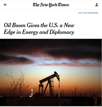"The main downside of the ""oil boom"" seen by the New York Times (2/3/19) is that it might ""drive down prices too much."""