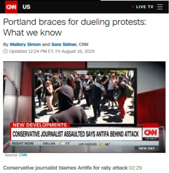 "The ""conservative journalist"" in CNN's headline (8/16/19) is Andy Ngo—described by Jacobin (8/16/19) as a ""right-wing provocateur"" and ""the most dangerous grifter in America."""