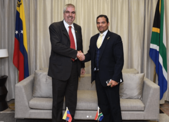 Venezuela's vice minister for Africa with his South African counterpart during a recent trip to the continent