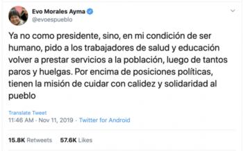 Evo Morales Ayma tweet