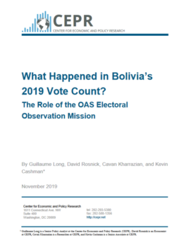 "Corporate media ignored CEPR's finding (11/19) that ""neither the OAS mission nor any other party has demonstrated that there were widespread or systematic irregularities in the elections."""