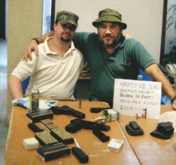 Rosza and Dwyer with their arms cache in Bolivia