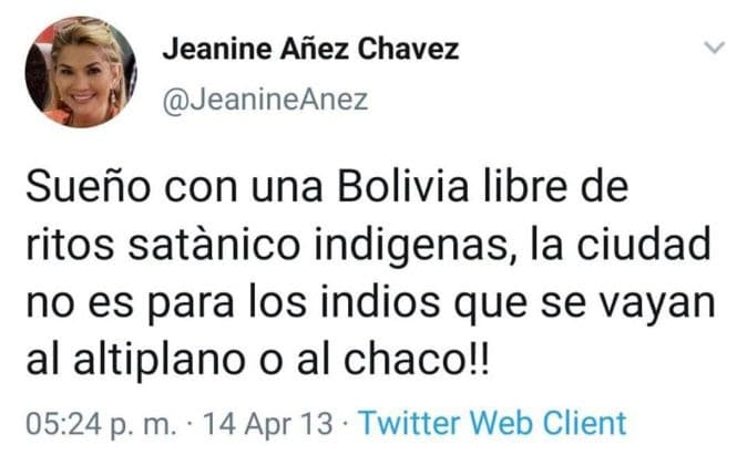 Tweet from self-proclaimed president Jeanine Áñez Chavez.