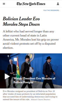 "When the military forces the elected president to ""step down"" (New York Times, 11:10:19), there's a four-letter word for that."