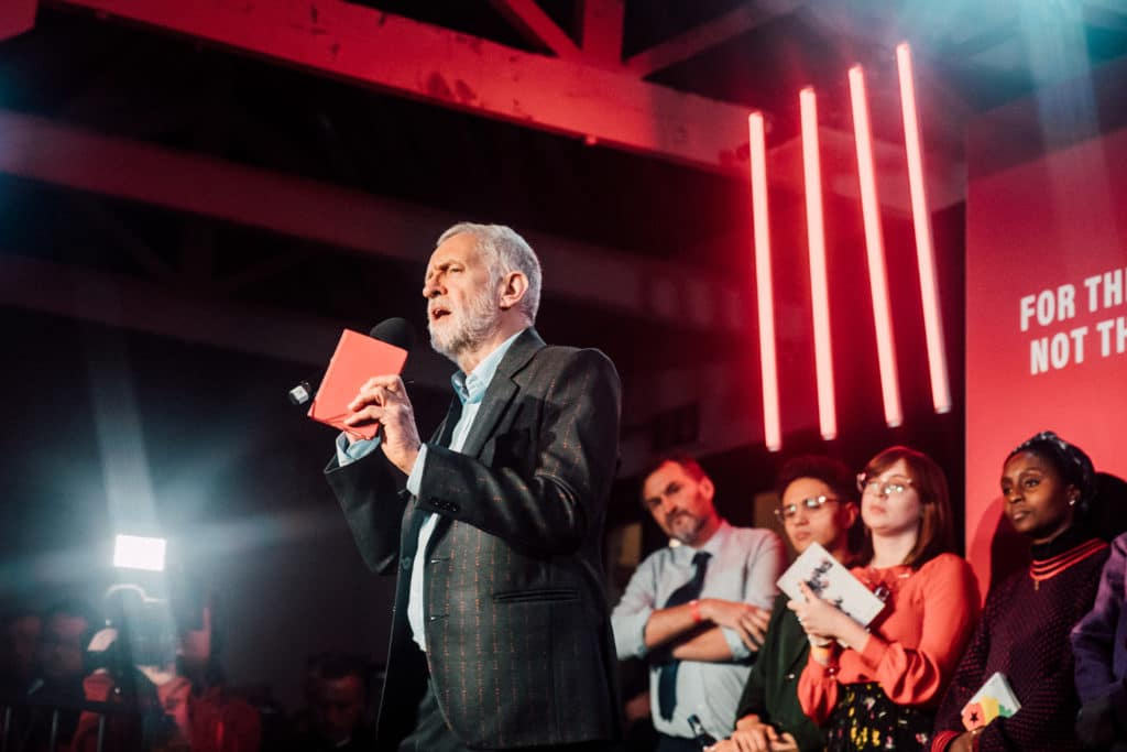Jeremy Corbyn at a rally in Birmingham, England on December 5, 2019