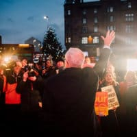 Jeremy Corbyn at a rally in Glasgow, Scotland