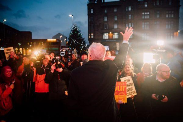 Jeremy Corbyn at a rally in Glasgow, Scotland