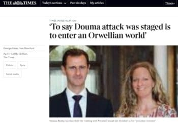 A Times headline following the now-discredited Douma chemical attack