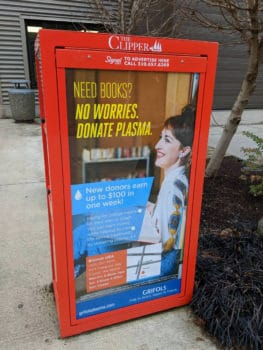 A sign encouraging students to sell blood to fund their education. Twitter | @tjulrich
