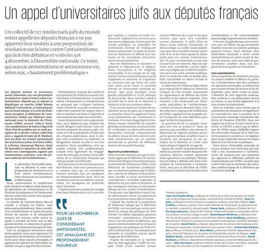 | French parliament decides antiZionism is antisemitism | MR Online