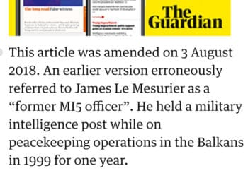 The amendment by the Guardian walking back a claim that Le Mesurier worked for British intelligence.