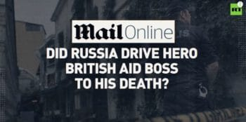 One of the many headlines blaming Russia for Le Mesurier's death