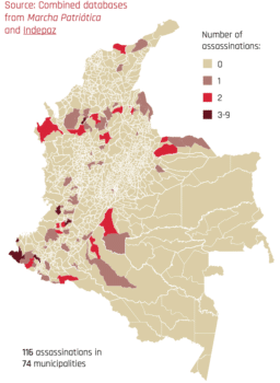 The number of those assassinated in November (2019) continues to rise. By 1 October, 155 deaths had been registered, concentrated in the same areas shown in this map.