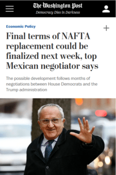 """The Washington Post (11/21/19) tells readers that """"NAFTA was meant to expand trade…but it also proved disruptive in terms of…relocating businesses and jobs."""